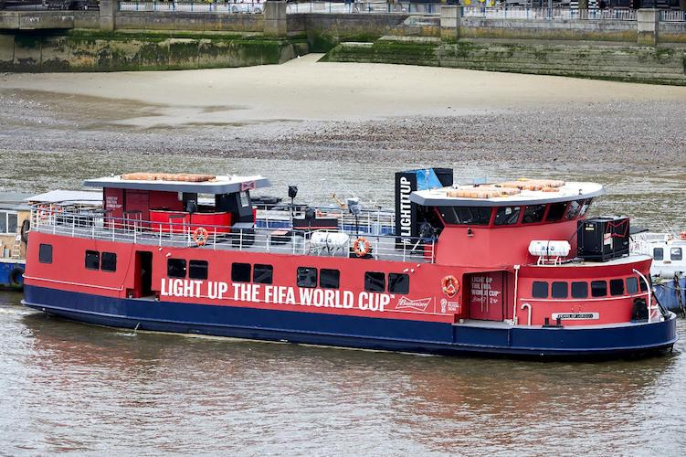 World Cup party on a boat on the river Thames